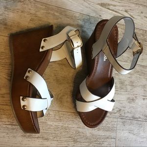 White Ankle Strap Wedge